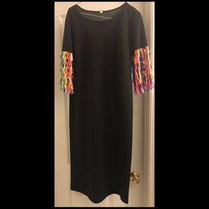 Black mid dress with spike sequins sleeve